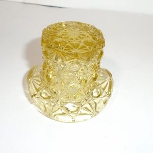 Daisy & Button Etched Glass Top Hat Decor Trinket